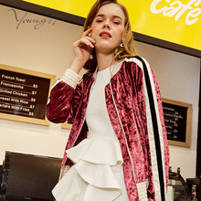 Young 17 Women s Jacket Pleuche Short Length Long Sleeve Slim Stand Collar Patchwork Decorated Pocket