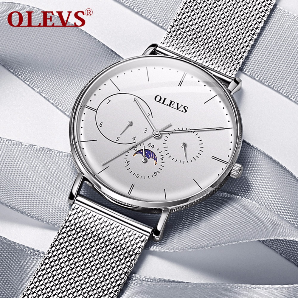 OLEVS Hommes Montre 2018 Nouveau relogio masculino Acier Maille ceinture Véritable en cuir Auto date Semaine étanche Mince Mode Horloge saat