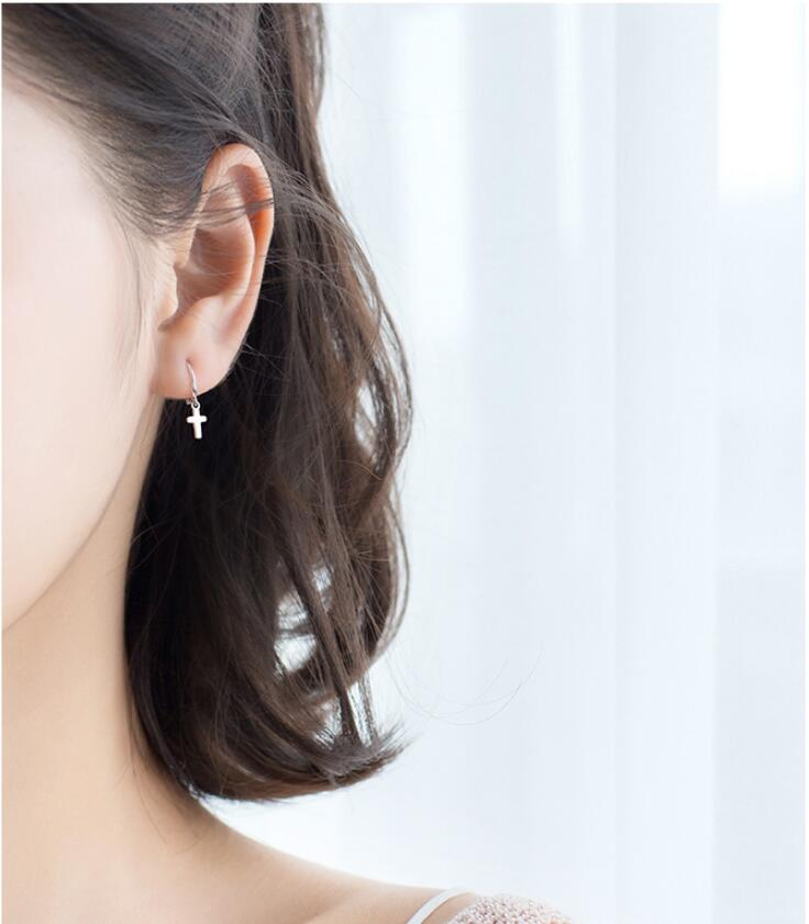 Womens Fashion 925 Sterling Silver Cross Earring Small Stud Earrings For Young Girls Teen Gift