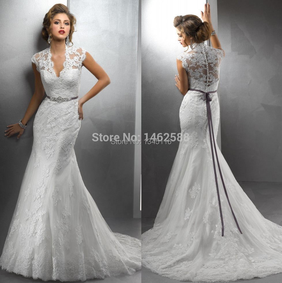 Modest Cap Sleeves V Neck Lace Wedding Mermaid Dresses Sexy Bride - Covered Back Wedding Dress