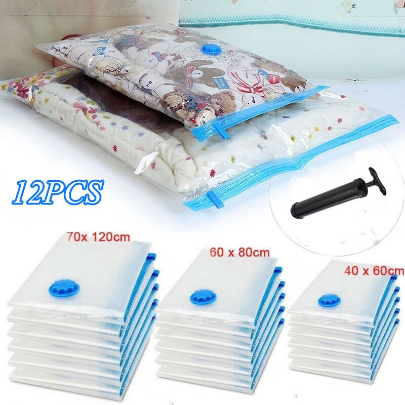 US Vacuum Storage Bags For Clothes Blankets Compressed Vac Pack Bag Space Saver