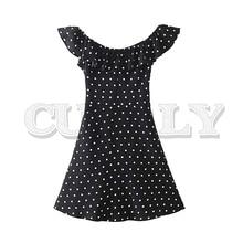 CUERLY women sweet polka dots slash neck mini dress short sleeve ruffles stretchy bow tie female stylish A line dresses цены