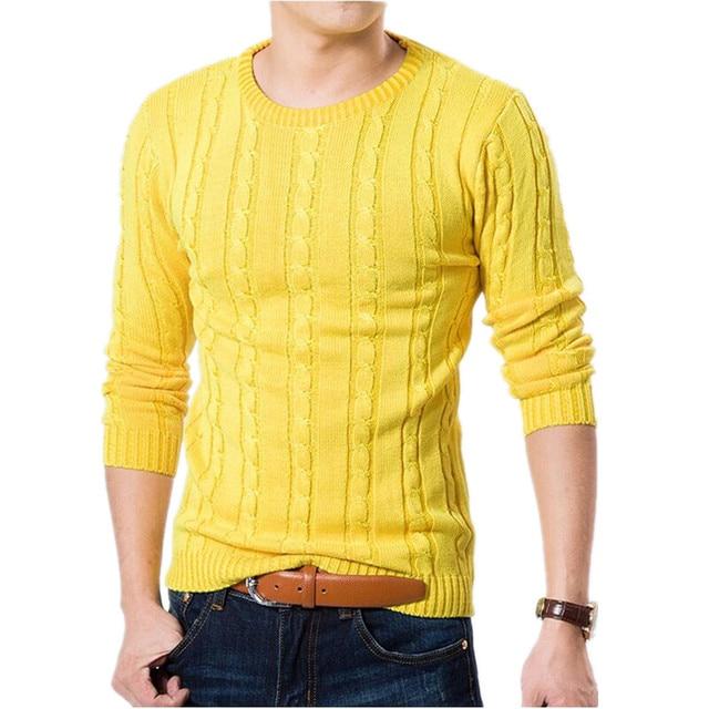 Novos Homens Camisola Cor Pura Roupas Pullover Camisola do Inverno Dos Homens Quentes Casual Slim Fit Em Torno Do Pescoço Pulôver Camisola M-XXL