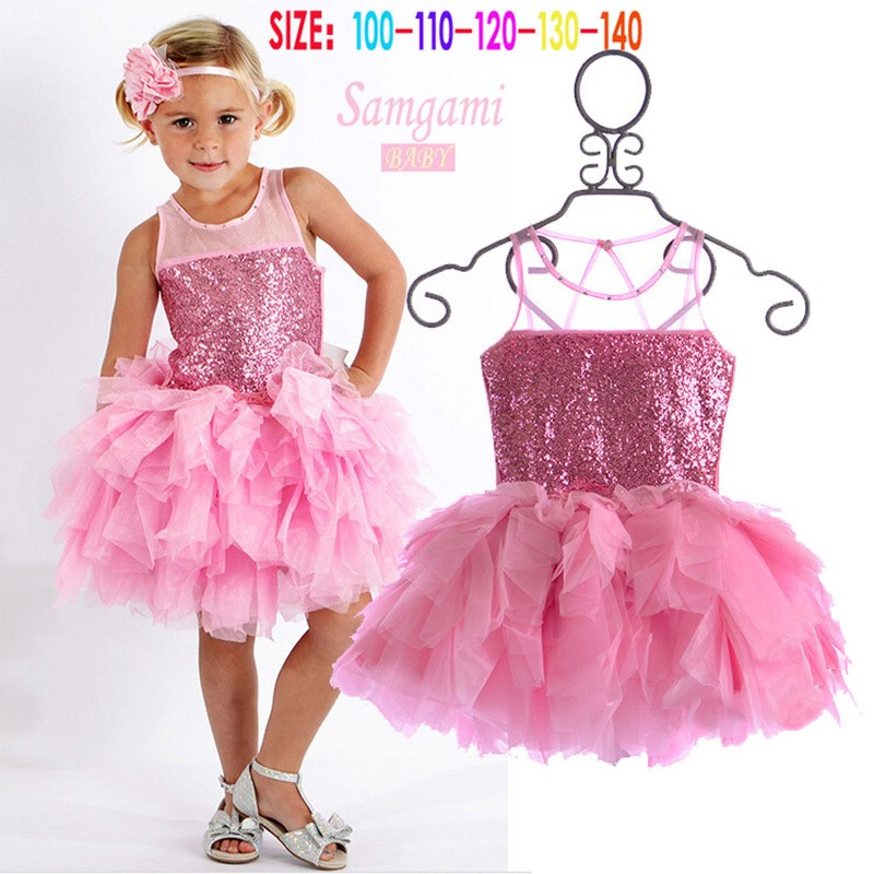 Baby Girls' clothes dress 2017 fashion Brand New Girl princess children's birthday party sequined pink tutu summer Cake Dresses 4pcs baby girl clothes swan infant clothing princess tutu dress party baby christmas outfits clothes birthday costumes vestido