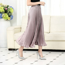2019 Metallic luster polyester pleated skirt foreign trade original single long spinning smooth silk