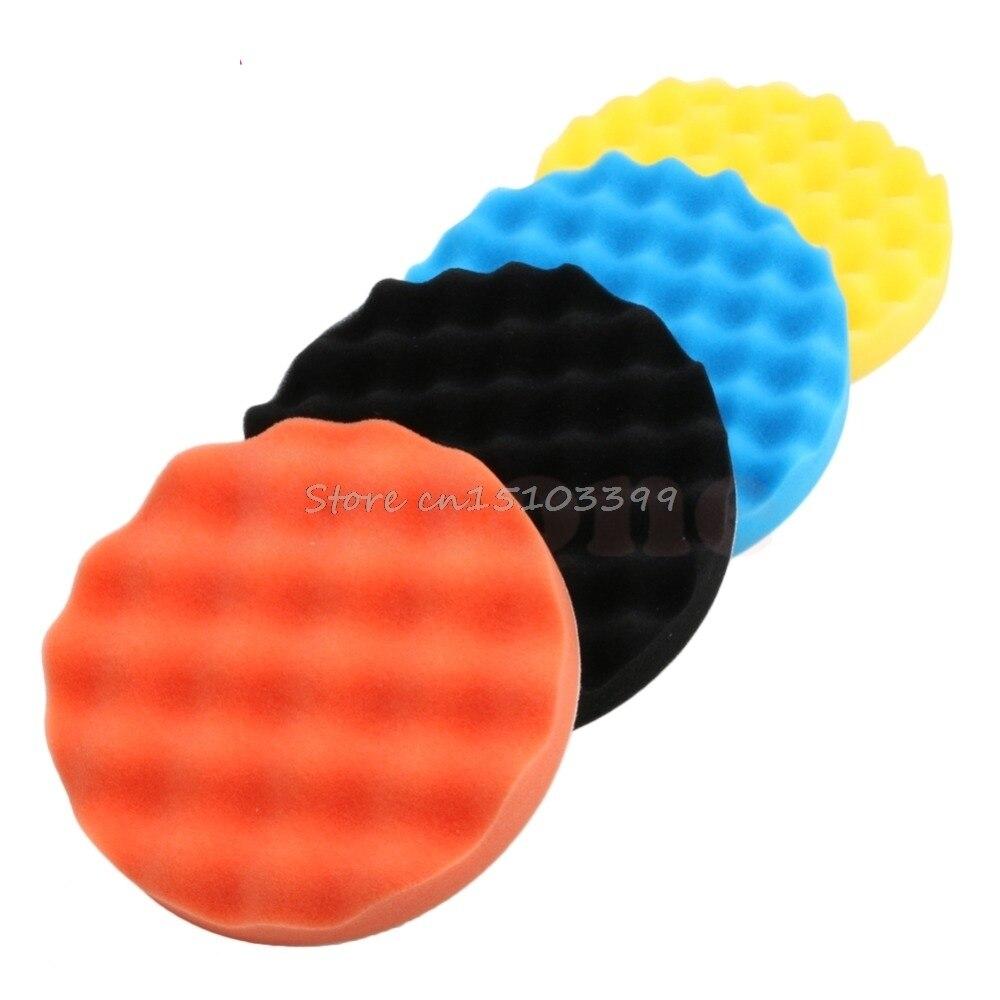4Pcs 5 Inch (125mm) Buffing Polishing Sponge Pads Kit For Car Polisher Buffer Drop Ship