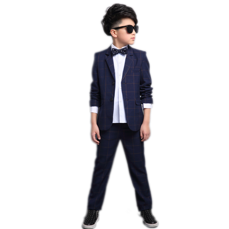 Grand garçon vêtements ensembles 2019 nouveau pring enfants vêtements à manches longues plaid garçon blazer veste + pantalon garçons robe formelle mariage garçons costumes