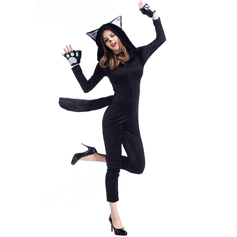 a73f8649c3a ... Women Black Sexy Cat Kitty Panda Animal Cosplay Jumpsuit Carnival Cosplay  Jumpsuit Gloves Set Sexy Halloween ...