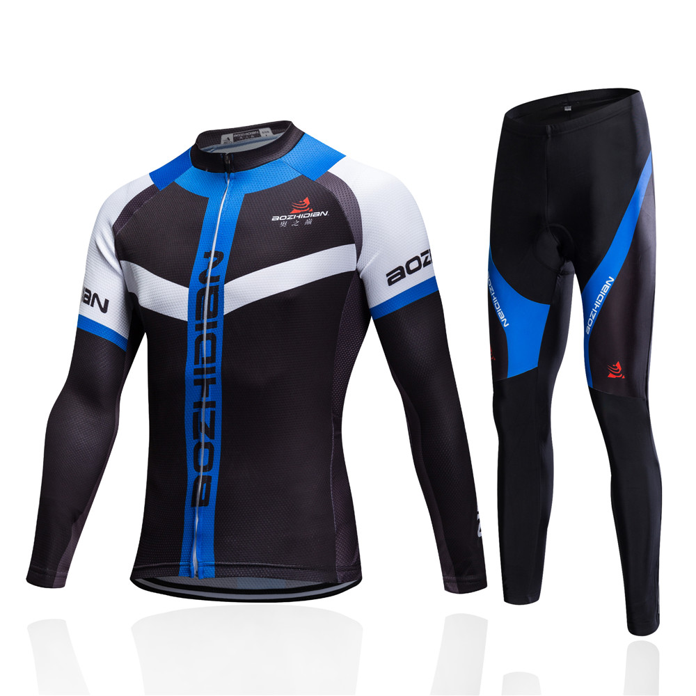 New Thin & Fleece Mens Cycling Clothing Set Long Sleeve Cycling Equipment Sets Mountain Bike Jersey Clothes Bicycle Sportswear