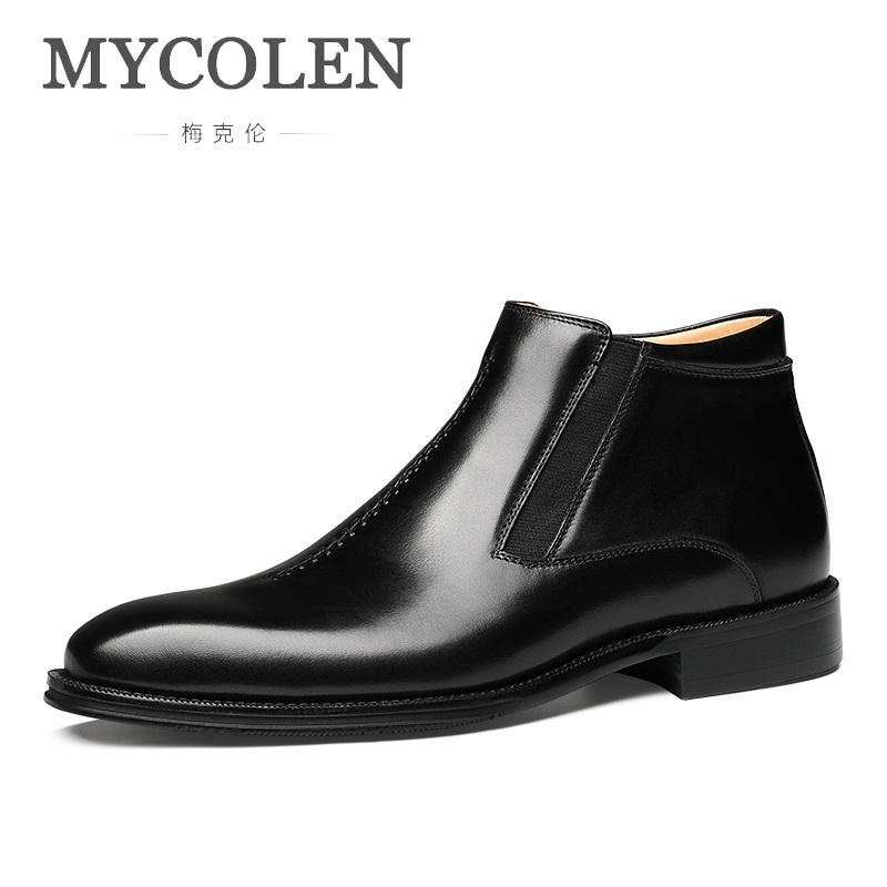MYCOLEN 2019 New Minimalist Design Men Shoes Fashion Men Ankle Boots Black Brown Carving Leather Shoes Men Botas Masculino