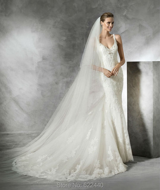 See Through Back Deep V-neck Sexy Mermaid Wedding Dresses Bridal Gown  Ethereal Sweep Train Wedding Gown Bride Dress a578fadc8837