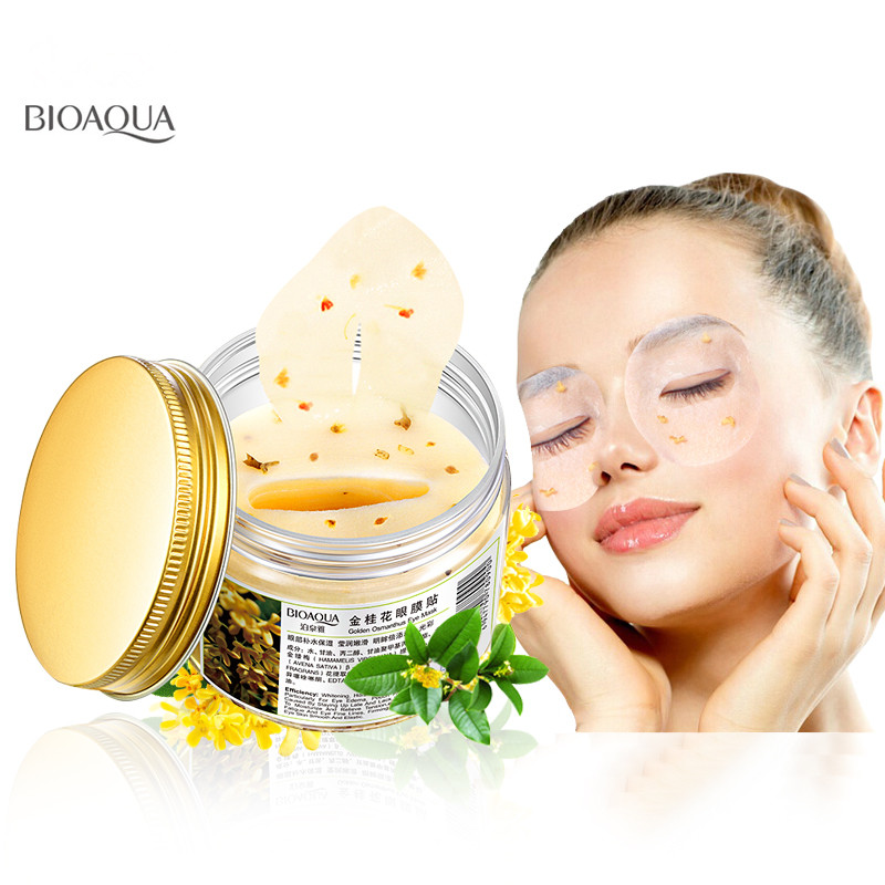 80 Pcs/ Bottle BIOAQUA Gold Osmanthus Eye Mask Anti Wrinkle Remove Dark Circle Collagen Gel Whey Protein Sleep Patches eye care 1000g gold standard whey protein powder concentrate 80