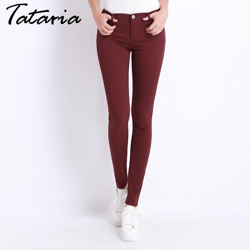 Джинсы для женщин женские джинсовые штаны Карамельный цвет Для женщин S Джинсы для женщин Donna стрейч Низ feminino Узкие брюки для Для женщин Мотобрюки 2018 Татария