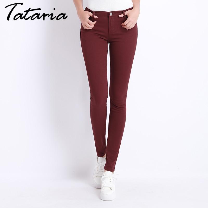 Pantalones de mezclilla mujer Candy Color Womens Jeans Donna Stretch Bottoms Feminino pantalones flacos para las mujeres pantalones 2018 Tataria