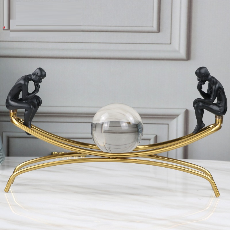 Sitting On A Metal Frame Thinker Room Decoration Accessories European Creative Home Room Office Ornament With Crystal Ball R785Sitting On A Metal Frame Thinker Room Decoration Accessories European Creative Home Room Office Ornament With Crystal Ball R785