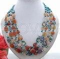 Stunning! Carnelian&Turquoise&Pana Abalone Necklace free shippment