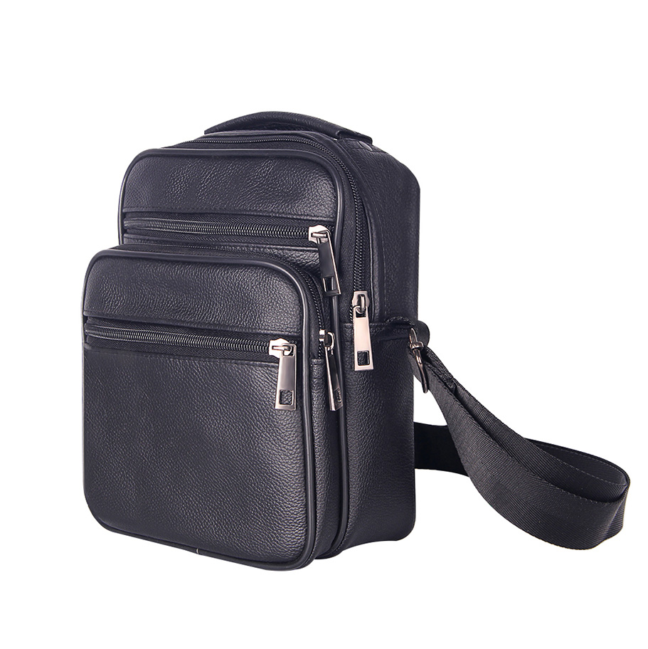 Solid Black Mens Messenger Bag Genuine Leather Men Shoulder Bags Soft  Surface Business Crossbody Zipper Travel Pouch Male 6612861984f2d