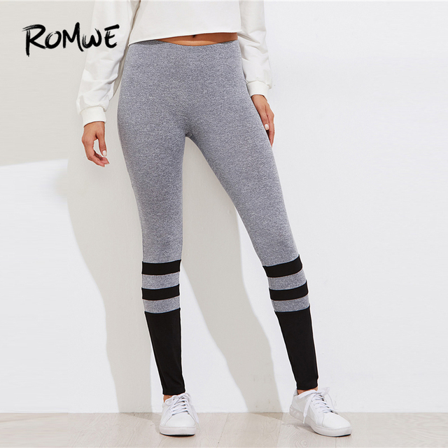 Romwe Sport Grey Two Tone Striped Marled Knit Women Leggings 2018 New Autumn  Stretchy Sporty Skinny Athletic Yoga Pants 0a81e1e7af25