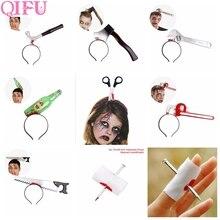 QIFU 1pcs Halloween Headband Party Decor 2019 Home Horror Props Nail Knife Fake Blood Decorations
