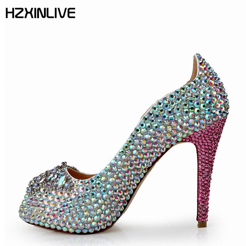 GGOB 2018 ручной работы красочные кристалл обувь из овчины Для женщин из натуральной кожи Пип высокие ботинки на каблуках 12 см женская свадебна