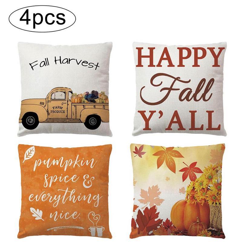 4Pcs/Set Autumn Harvest Pumpkin Truck Pillow Case Theme Farm Style Linen Pillow Cushion For Home Pillow Covers