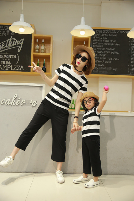 Preax Kids Family look Clothes Sets Matching Mother And Daughter Set Cotton striped T-Shirts + wide leg pants Mom and me outfits