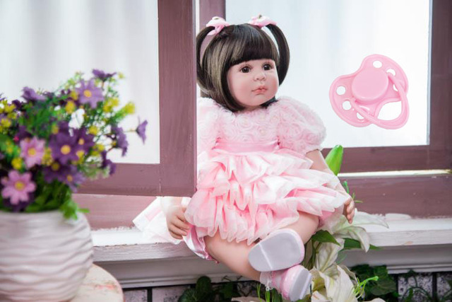 60cm Silicone Reborn Baby Doll Toys Like Real 24inch Vinyl Exquisite Princess Toddler Girls Babies Dolls