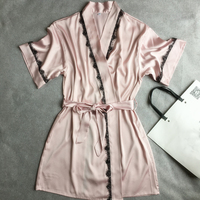 Pink Mid Sleeve Sexy Women S Robe Dress Gown Plus Size XL Bathrobes 2017 Summer Style
