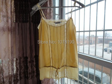 100% משי טהור חולצה לנשימה קטן גופיית אישה למעלהtanktop womanpure silk camisolesilk camisole