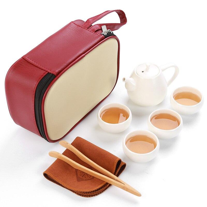 Portable travel tea set,red bag+1 pot+4 cups+1 towel+1 clip,beautiful Kungfu tea set,ceramic tea pot,for Chinese Oolong Tea,cha