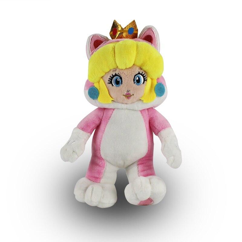 18cm Super Mario 3D Land Princess Peach Cosplay Cat Plush Toy Soft Stuffed Doll 22cm super mario pink peach princess plush toys cute doll for children free shipping soft stuffed doll