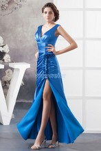 free shipping 2014 new design hot sale formal v-neck cap sleeve custom size/color beading crystal real photo longCocktail Dress