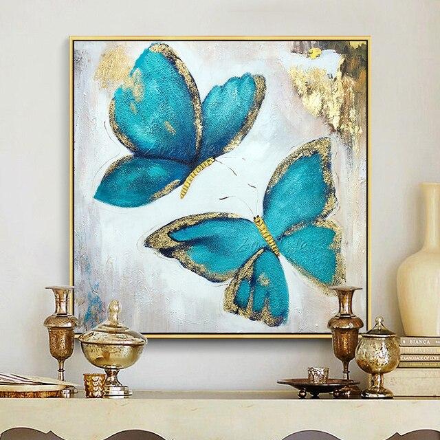 à Bas Prix Or Bleu Papillon Acrylique Peinture Sur Toile