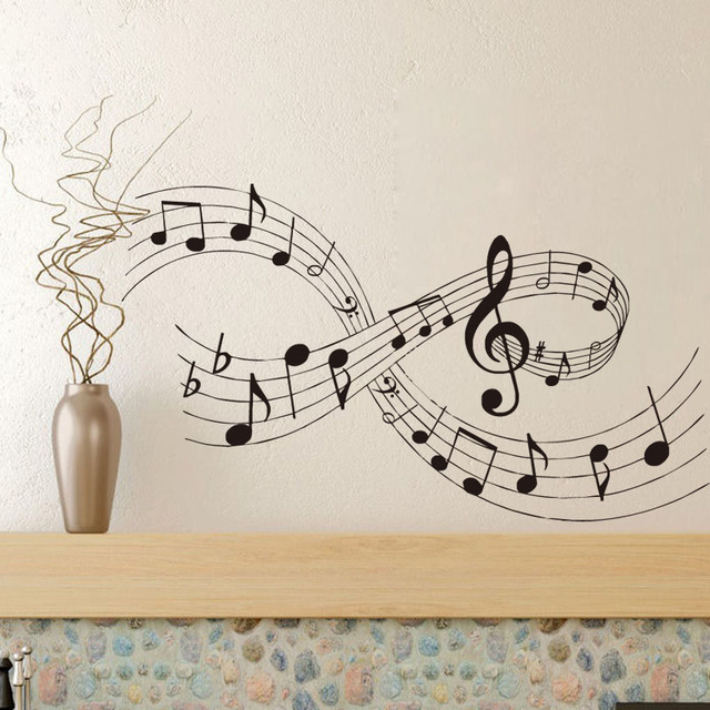 Us 6 63 22 Off Home Improvement Wall Stickers For Living Room Music Wall Art Decals Musical Notes Bedroom Decor In Wall Stickers From Home Garden