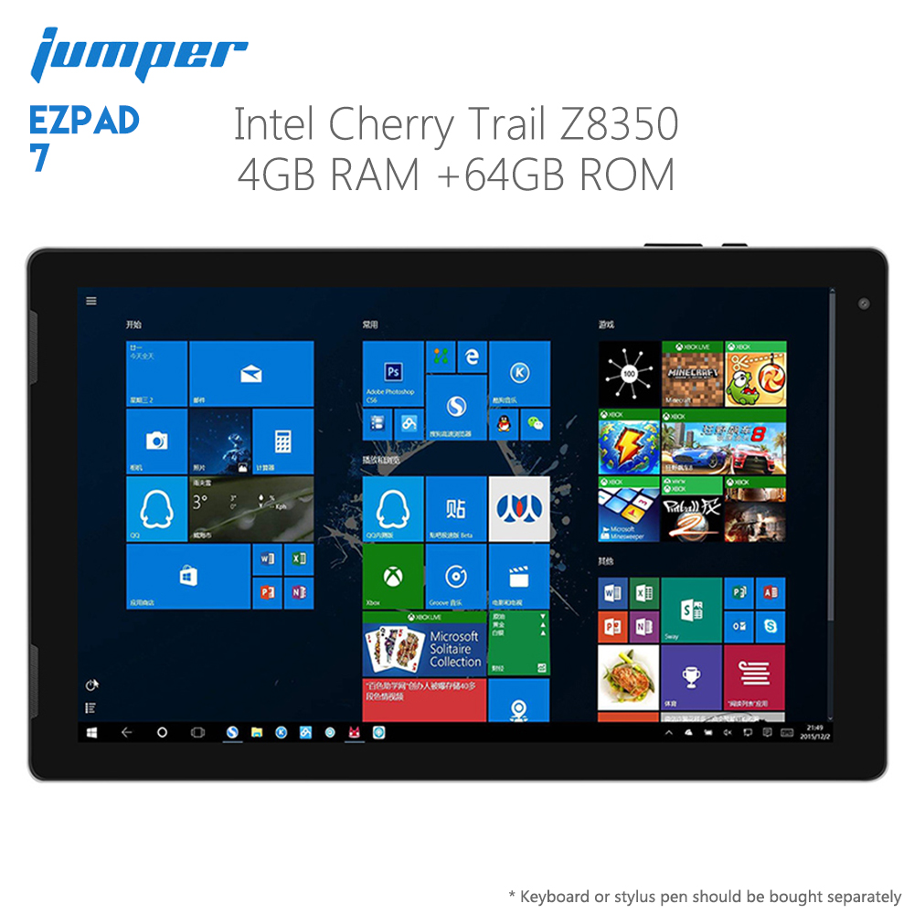 Original Jumper EZpad 7 2 en 1 tablette PC 10.1 pouces Windows 10 maison 64 bits Intel Z8350 Quad Core 4GB RAM 64GB ROM Pad ordinateur