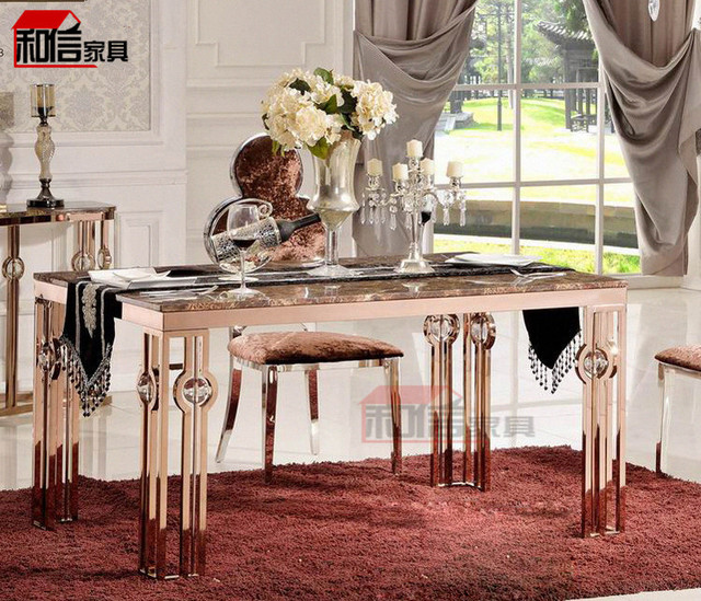 Rose Gold Stainless Steel Rectangular Marble Table IKEA Dining Table Small  Apartment Modern Simple Dinner Table
