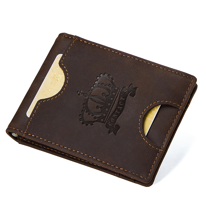 CONTACT'S Crazy Horse men RFID Genuine Leather Money Clip Card Wallet Thin Bifold cash clamp casual cash holder man coin purse 2