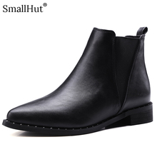 Low Heel Ankle Boots Rivet Women Autumn New Ladies Fashion Square Heels E129 Elegant Woman Black Pointed Toe Short Chelsea Boots цена