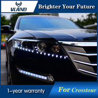 2Pcs Head Lamp For Honda Crosstour Headlights 2011 2012 LED Headlight DRL H7 D2H Hid Option Angel Eye Bi Xenon Projector