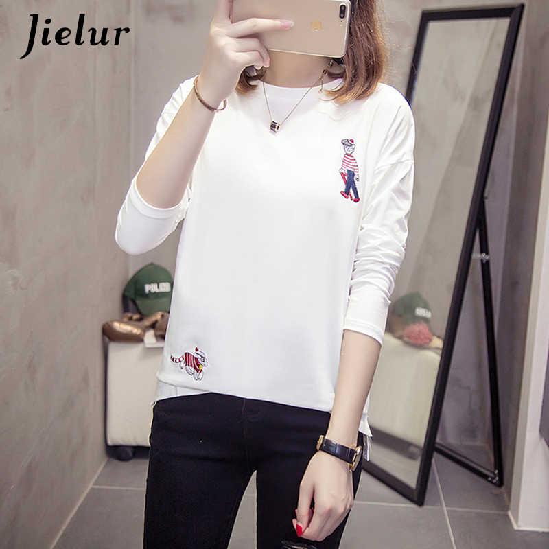 Jielur осень мультфильм вышивка футболка с длинным рукавом для женщин Белый Черный Новый корейский футболка хлопок m-xxl тройник Топ дропшиппинг