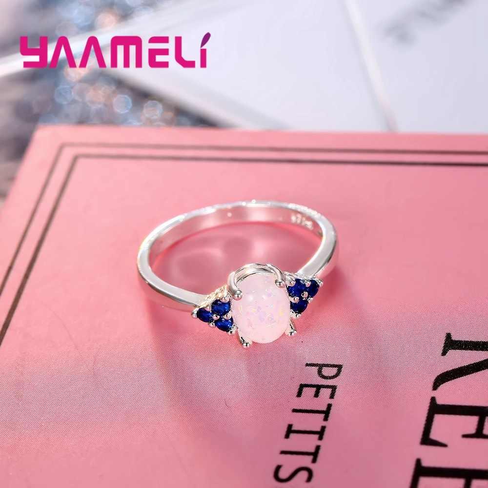 สร้างสีขาวที่มีสีสันโอปอลคริสตัล 925 แหวนเงินขายส่งขายปลีกขาย Hot Women เครื่องประดับขนาด 6-10