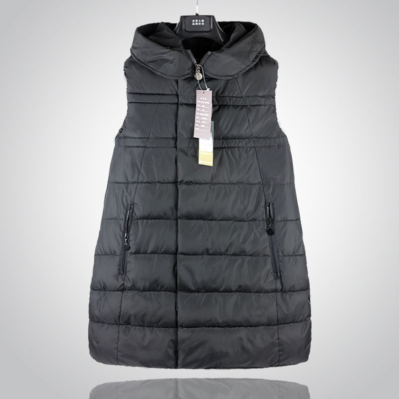 New women's autumn and winter down cotton vest long Sleeveless Coat hooded cotton jacket vest Plus size Women Waistcoat Z1883