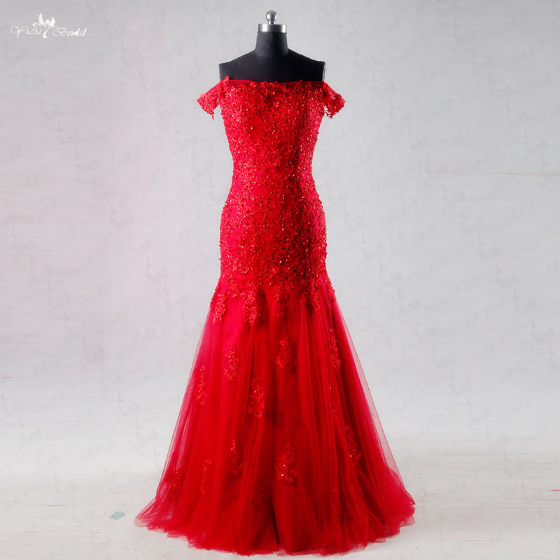 RSW1004 Real Off Shoulder Lace Evening   Dress   Red Mermaid   Prom     Dress