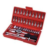 46pcs 1/4 Inch Socket Set Car Repair Tool Ratchet Set Torque Wrench Combination Bit a set of keys Chrome Vanadium
