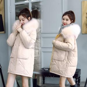 Image 5 - 2020 פרווה סלעית Parka casaco feminino נשי מעיל מעיל בתוספת גודל חורף מעיל נשים מזדמן למטה כותנה ארוך מרופד מעיילי