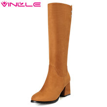 VINLLE 2018 Women Shoes Scrub Square High Heel Black Knee High Boots  Concise Ladies Motorcycle Shoes 999617b82bc6