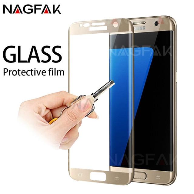 삼성 갤럭시 s7 s6 가장자리 강화 된 화면 보호기에 대한 nagfak 보호 유리 삼성 s7 필름에 대한 3d 곡선 가장자리 유리