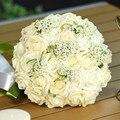 Hermosa 8 Colores Hechos A Mano de Flores Artificiales Decorativas Flores Color de Rosa Perlas de Novia Ramos de La Boda con La Cinta