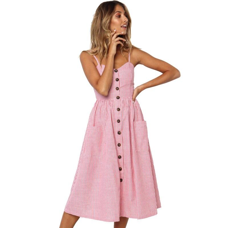 Button Striped Print Cotton Linen Casual Summer Dress 2019 Sexy Spaghetti Strap V-neck Off Shoulder Women Midi Dress Vestidos