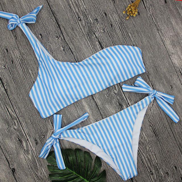 One Shoulder Bandage Pushed Up Paded Bikini 8